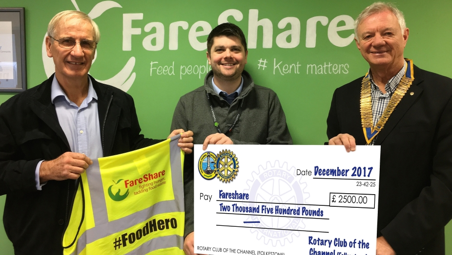 £2500 Presentation to Craig Brown, Operations Manager, Fareshare Kent (centre) byPresident Alan Myers (right) and Community Services Chairman Charles Evans (left)